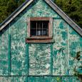 Blue-green barn