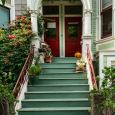 Stairs and red doors