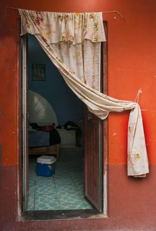 Curtained door