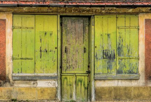 Green shutters of long house