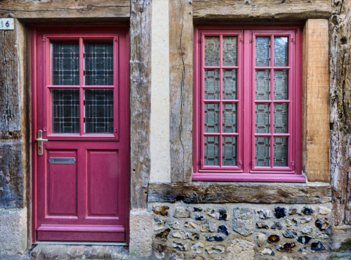 Purple door and window